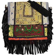 Vintage Addiction Black Boho Chic Fringed Messenger Bag (310 CAD) ❤ liked on Polyvore