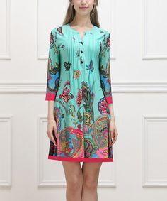 Look at this #zulilyfind! Aqua Floral Paisley Notch Neck Dress - Women by Reborn Collection #zulilyfinds