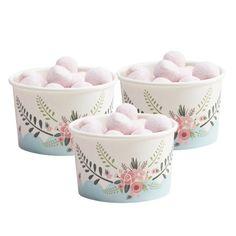 Vasitos y cucharitas helado Vintage Flowers / 8 uds. - La Fiesta de Olivia - 1
