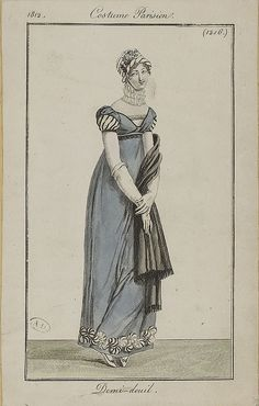 Costume Parisien, 1812, half mourning day dress. M5053MA_214X02X00003_L_4 by SceneInThePast, via Flickr