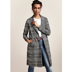 Woven fabric Check print Notch lapels Front slip pockets Long sleeve Concealed single magdot fastening Fully lined Our model wears a UK 8 and is 175cm/5'9'' tall