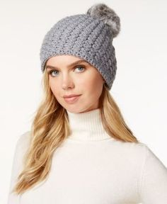 Surell Star Stitched Knit Rabbit Fur Pom Hat - Blue