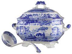 "Spode ""Blue Italian"" tureen.  Blue Italian is earthenware--everyday china."