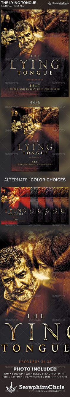 The Lying Tongue: Church Flyer Template is designed for sermon series or church events revolving around the proverbs, obedience, and wisdom. This premium flyer design is constructed to give the highest dynamic quality when printed or posted to social media site and other formats. This file is exclusive to graphicriver.net