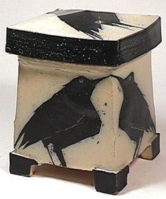 Michael Simon Pottery - Not a teapot but crows always qualify. Ceramic Boxes, Ceramic Jars, Ceramic Clay, Raku Pottery, Slab Pottery, Pottery Art, Clay Box, Cerámica Ideas, Hand Built Pottery
