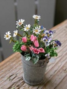 Amazing miniature flower bouquet in small silver bucket ~ 1:12 scale.