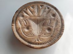 4.75in wide x 2in tall (handle, carved) Exceptional dated 1824 Butter Stamp.  Best Rare dated & double-sided Butter Mold $1999.99