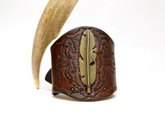 The Flight Hand Tooled Leather Cuff by OliRoseCollection on Etsy, $60.00