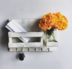Hey, I found this really awesome Etsy listing at https://www.etsy.com/listing/478020419/mail-organizer-flowers-included-distress