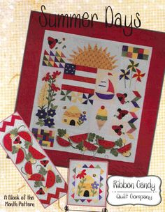 Summer Days BOM Quilt Pattern RCQ-548 (advanced beginner, wall hanging, home decor & houseware)