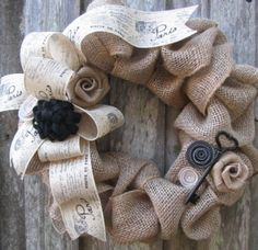 Burlap wreath....definitely fits my living room colors!  Love this one the best!