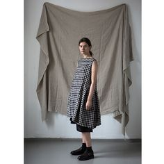 muku - Checked Dress with Side Pleats