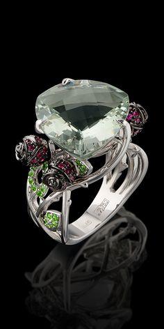 Master Exclusive Jewellery - Collection - Bouquet of love White gold,prazeolite,rubies,diamantoids