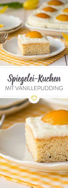 Spiegelei gefällig? Der saftige Kuchen mit süßen Aprikosen und feiner Vanillenote ist ideal für den nächsten Osterbrunch.