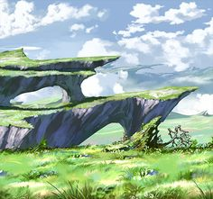 The Granblue Fantasy official website. Learn about the Granblue Fantasy world. Environment Painting, Environment Concept Art, Environment Design, Landscape Concept, Fantasy Landscape, Landscape Art, Fantasy Places, Fantasy World, Rpg Cyberpunk