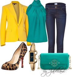 """Turquoise and Leopard"" by izabellaml ❤ liked on Polyvore"