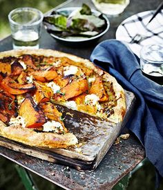 Pumpkin, goat cheese, and thyme tart