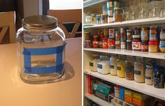 Chalkboard paint + glass jars - works a treat and v.simple to do.  Makes a larder much more versatile because you can change what each jar holds really easily.