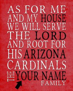 "Arizona Cardinals football inspired Personalized Customized Art Print- ""As for Me"" Parody- Unframed Print"