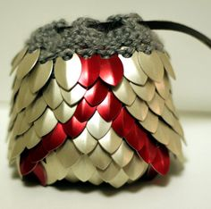 Dungeons and Dragons DnD Vanguard Knitted Dragon Scale Dice Bag. Brings to mind many design possibilities....