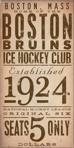 BOSTON bruins ice hockey club original graphic art on canvas 8 x 16 by stephen fowler via Etsy
