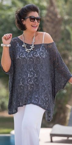 Plus size Kasbah grey lace oversize top and spaghetti vest Curvy Fashion, Look Fashion, Plus Size Fashion, Womens Fashion, Fashion Styles, Mode Outfits, Casual Outfits, Dress Casual, Casual Wear