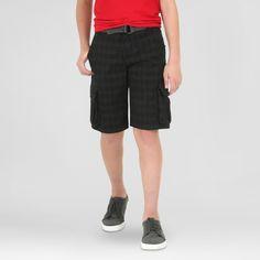 Wrangler Boys' Cargo Shorts Black Plaid 14
