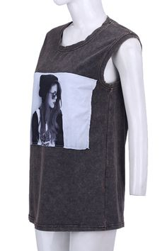 #Romwe Blogger Picture Print Grey Vest
