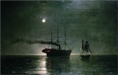 Ships in the stillness of the night Корабли в ночной тишине  Artist: Ivan Aivazovsky Completion Date: 1888 Style: Romanticism