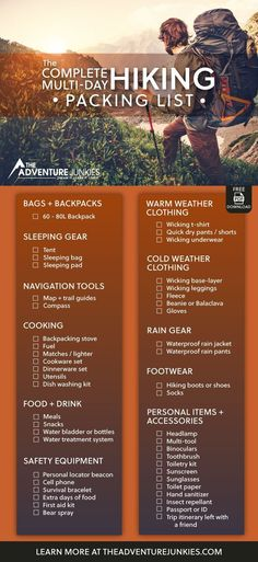 The Ultimate Hiking Packing List with a PDF Download – Best Hiking Gear For Beginners – Backpacking Gadgets – Hiking Equipment List for Women, Men and Kids #cruiseoutfitsformen