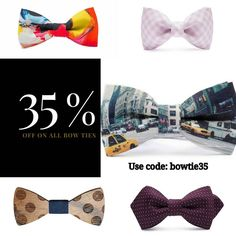 Don't miss the last day of our deal of the week! 35% off to all our amazing bow ties. Use code: bowtie35 #dealoftheweek #bowties #neckwear