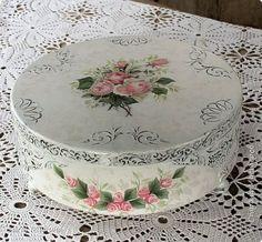 Itens de decoração para Decoupage Pintura caixa redonda shebbi- chique foto jacarandá 1