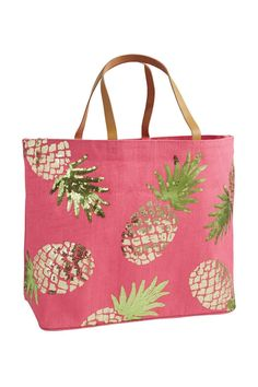 "This jute tote features shiny sequin artwork leather handles a laminated wipe-clean interior and an interior open pocket. Spot clean only.    Measures 14 1/2"" x 22"" x 6 1/2"". Beach Tote Pineapple by Mud Pie. Bags - Totes Omaha Nebraska"