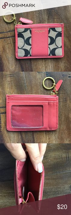 "Authentic Skinny Coach ID change purse Really cute ID change purse.  Perfect for Identification card and a couple of other cards + change.  Really cute!  Length: 4 1/2"" x 3"" Coach Bags Wallets"
