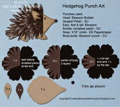Alex's Creative Corner: Hedgehog punch art instructions