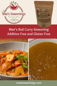 Red Curry Seasoning is great in red curry coconut soup or mix with water to make a red curry paste. This Red Curry Seasoning is a blend of spices including coriander, paprika, turmeric, cayenne and habanero to name a few. Also has a hint of brown sugar, lime, salt and pepper. Mae's Red Curry Seasoning explodes with amazing flavours. Eliminate the guesswork and choose Mae's Seasonings spice combinations that are made with no artificial preservatives. Coconut Vegetable Curry, Coconut Soup, Healthy Soup Recipes, Thai Recipes, Dinner Recipes, Curry Seasoning, Pad Thai Noodles, Spice Combinations, Natural Spice