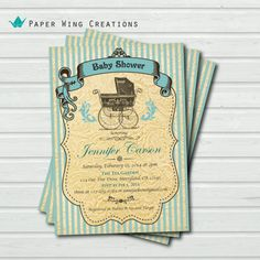 Vintage Baby Boy Shower Invitation. by ThePaperWingCreation, $15.00