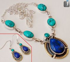 Perfect design of silver necklace and earrings with splendid blue lapis gemstone..!!   #jewelexi  #lapis  #necklace  #earrings  #jewelry