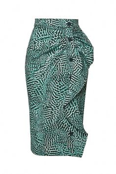 Ladylike with a modern twist, this tonal green printed pencil skirt from Max Mara features buttons down the front and pretty ruffle detailing.