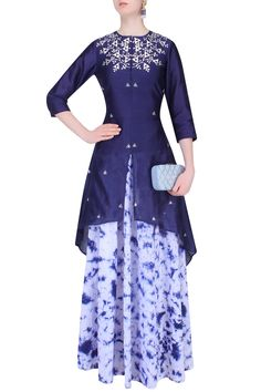 Navy blue gota patti high low kurta with marble dyed skirt available only at Pernia's Pop Up Shop.