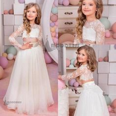2 Pieces Flower Girl Dresses Lace Princess Dresses A-Line Long Sleeve Pageant Dresses Birthday Party Dress,HT017
