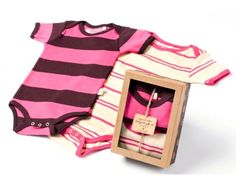 - two bodysuits packaged in our newest giftbox - 100% certified organic cotton and dyes - one size only 6-12M