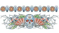 2 day of the dead skull body bands Tinsley Transfers temporary tattoos with a skull, maracas and coffins. #t4aw #tattooforaweek #temporarytattoo #faketattoo #skull #bodybands #coffin #tinsleytransfers #dayofthedead