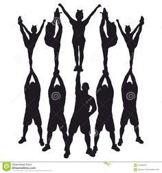 Cheerleader Silhouettes Set 3 With 8 Digital Graphics