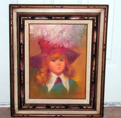 Original 1960's BIG EYE Girl Oil Painting by retrosideshow on Etsy