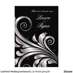 """Leaf Swirl Wedding Invitation Black Silver 5"""" X 7"""" Invitation Card"""