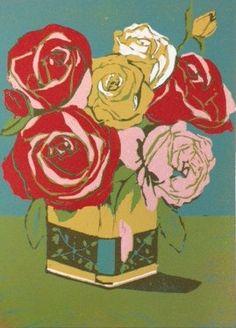 Tea Tin original linocut of wild roses in a tin by LisaVanMeter, $65.00