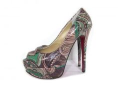 Christian Louboutin Pices Lady Peep 140mm Pattern Leather Platform Peep Toe Pumps Green