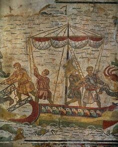 Charging and discharging wild animals on a ship. Detail of the Big Game Hunt, mosaic (3rd-4th CE) in the ambulatory of the Villa del Casale, Piazza Armerina, Sicily, Italy. Province of Enna