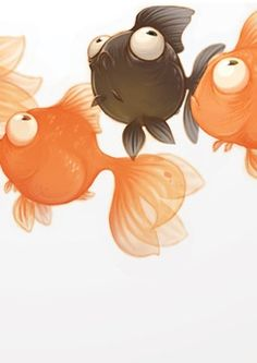 A caricature of bubble eyed, celestial gold fish. It captures their  droll outlook On life.